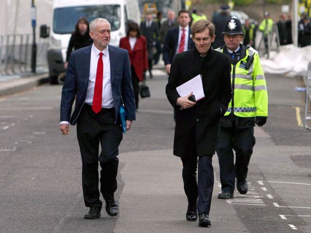 """Jeremy Corbyn, pictured with Labour Director of Strategy and Communications, Seumas Milne, leaving Lindley Hall in Westminster after enjoying an """"excellent"""" private meeting with President Obama"""