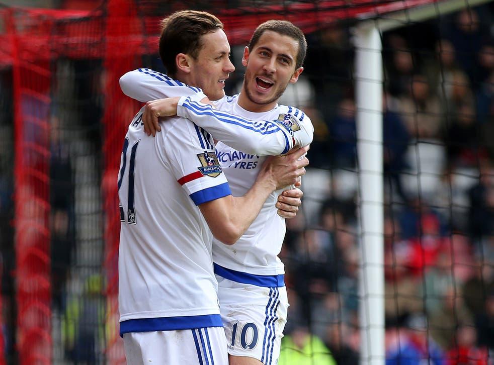 Eden Hazard celebrates after scoring for Chelsea against Bournemouth