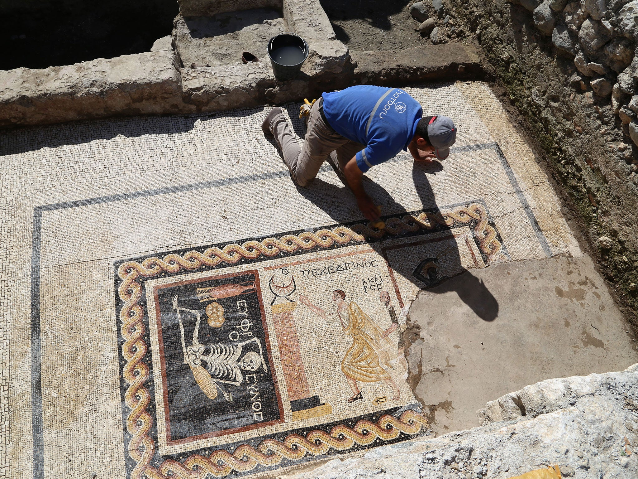 Archaeologists discover ancient mosaic with message: 'Be cheerful, enjoy your life'