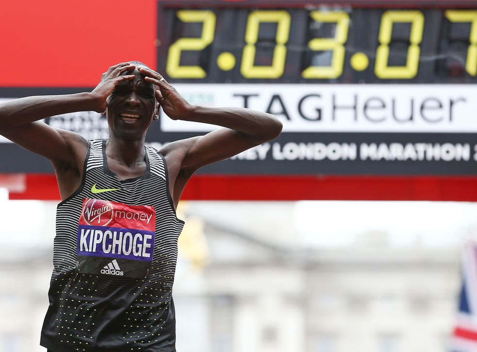 Eliud Kipchoge after crossing the line
