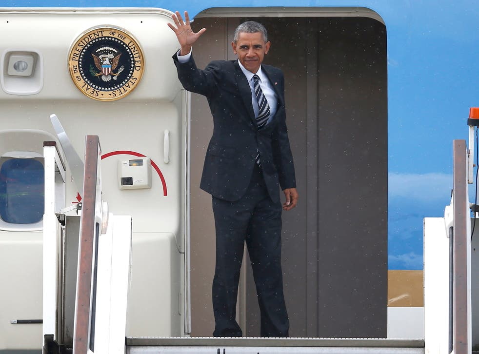 Obama left controversy in his wake as he departed from Stansted airport