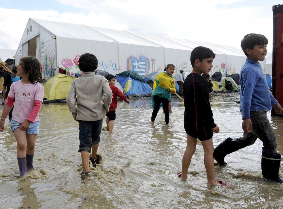 Children at a makeshift camp at the Greek-Macedonian border