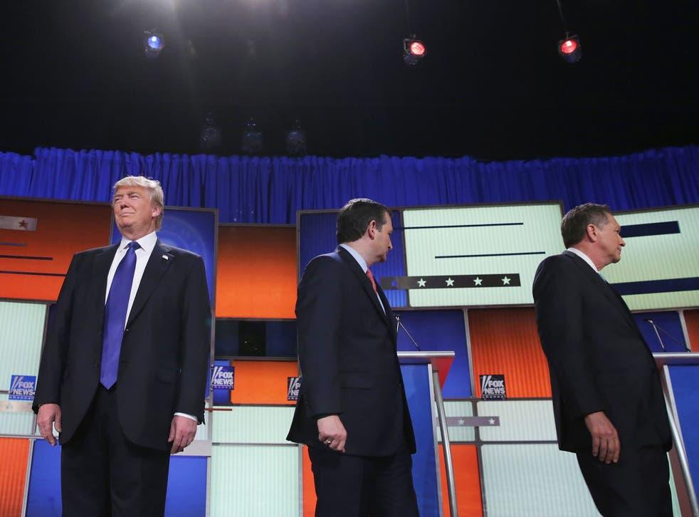 Republican presidential candidates (Lto R) Donald Trump, Sen. Ted Cruz and Ohio Gov. John Kasich