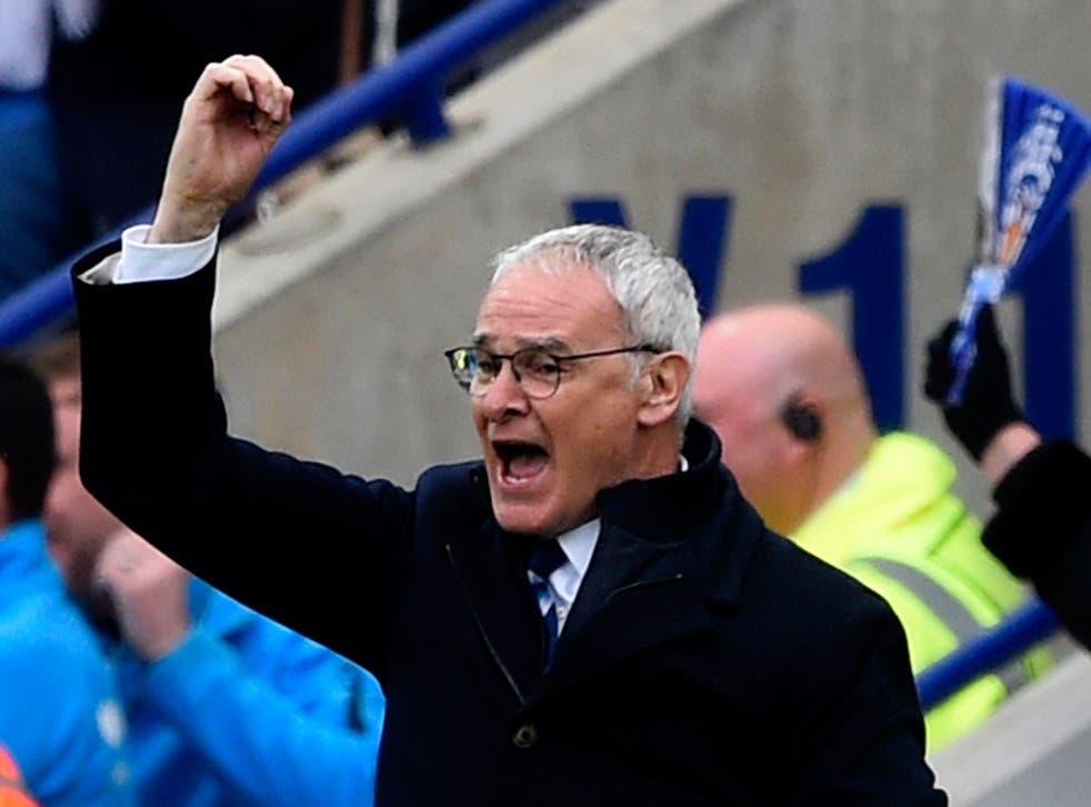 Claudio Ranieri celebrates Leicester's 4-0 win over Swansea