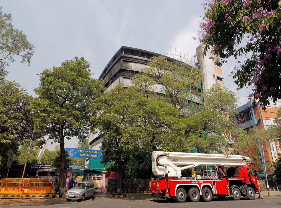 Fire engines parked outside the National Museum of Natural History in New Delhi, India