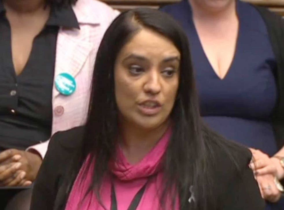 """Labour MP Naz Shah as she tells the House of Commons in London that she """"wholeheartedly apologises"""" for words she used in a Facebook post about Israel"""