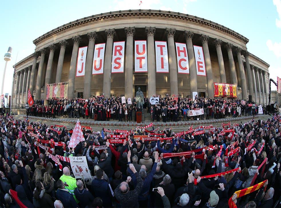 A vigil held at St George's Hall, Liverpool