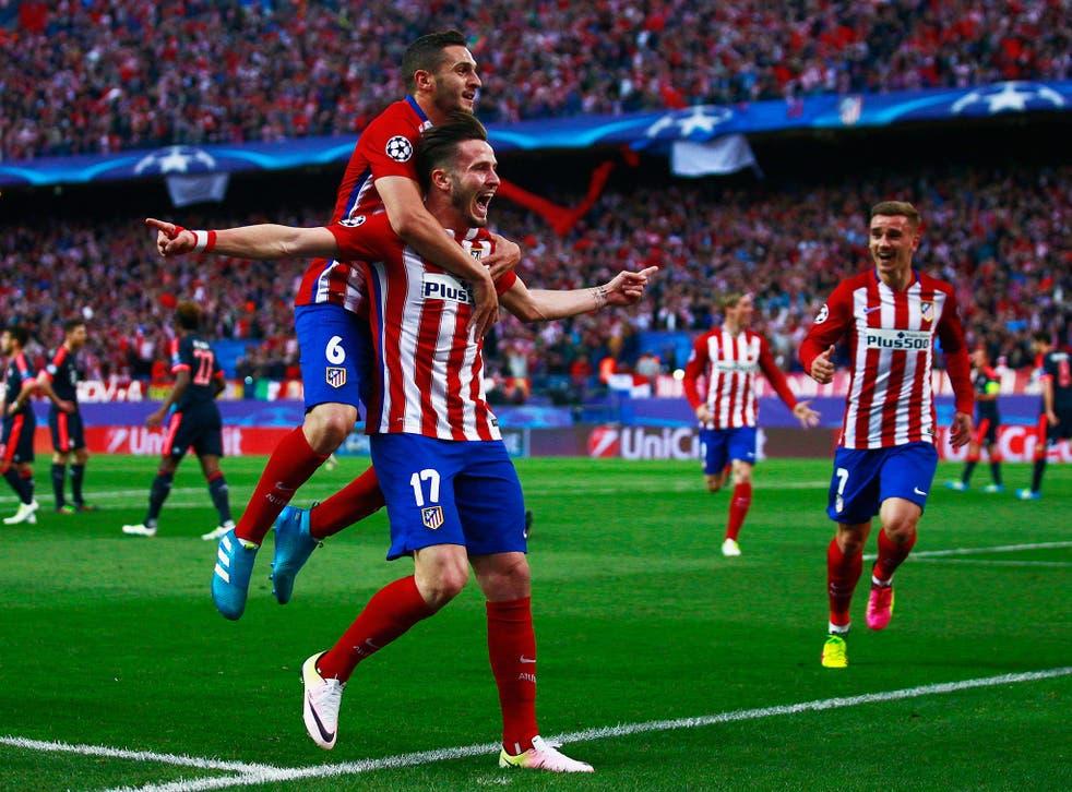 Saul Niguez celebrates his wonderful goal