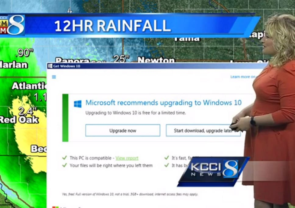 Windows 10 upgrade notice disrupts live TV weather broadcast   The