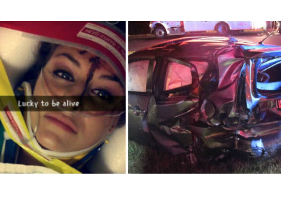 A Snapchat image allegedly posted by Christal McGee after the collision