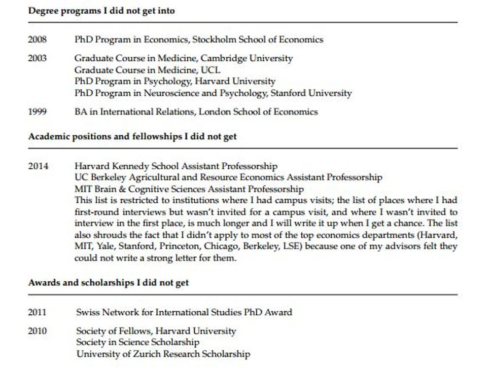 A Princeton psychology professor has posted his CV of failures ...