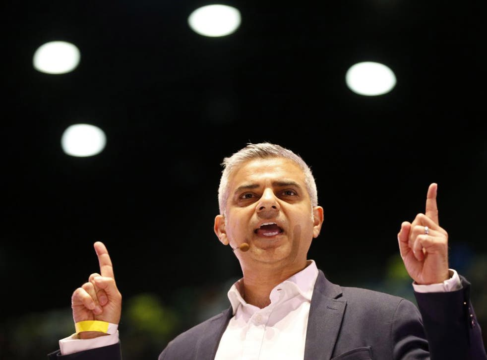 Sadiq Khan speaks during an assembly of the London Mayoral election contest