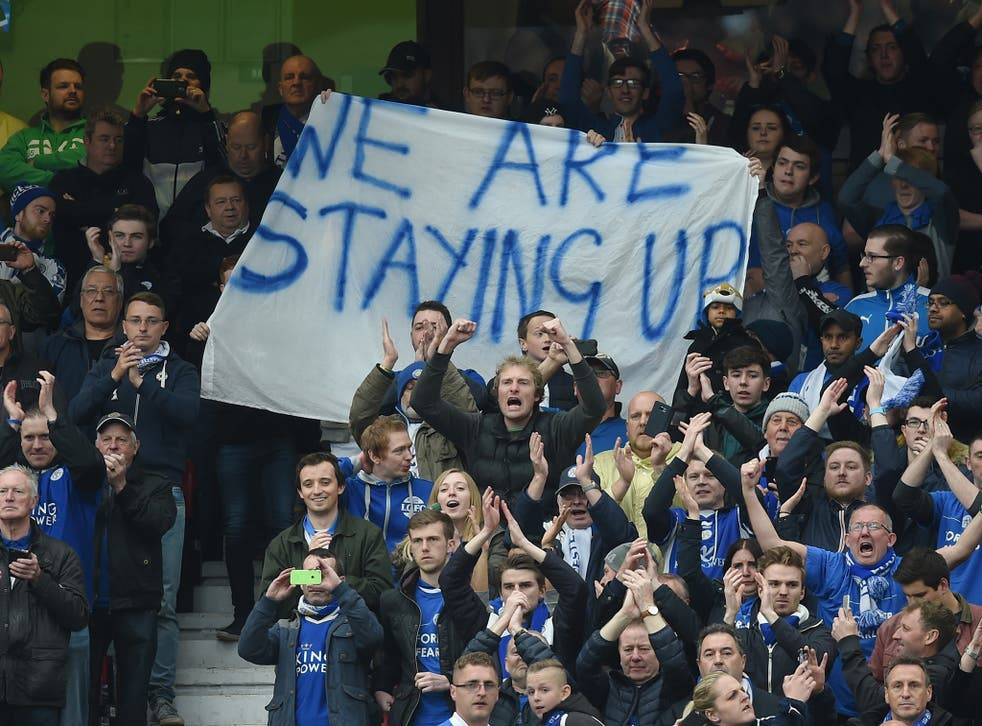 Leicester City fans and their banner at Old Trafford