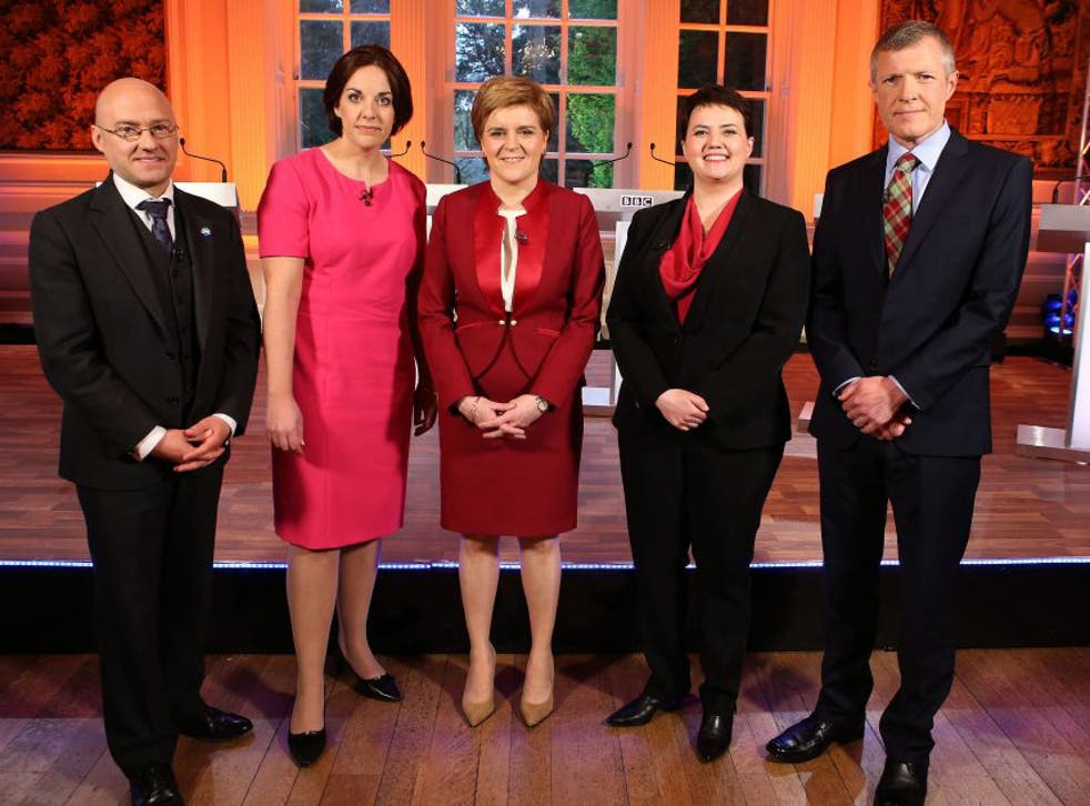 (left to right) Scottish Green Party co-convener Patrick Harvie, Scottish Labour Party leader Kezia Dugdale, First Minister and leader of the Scottish National Party Nicola Sturgeon, Scottish Conservative leader Ruth Davidson and Scottish Liberal Democrat leader Willie Rennie, ahead of the Leaders Debate which will take place at Hopetoun House, as part of BBC Scotland's coverage of the 2016 Scottish Parliament elections