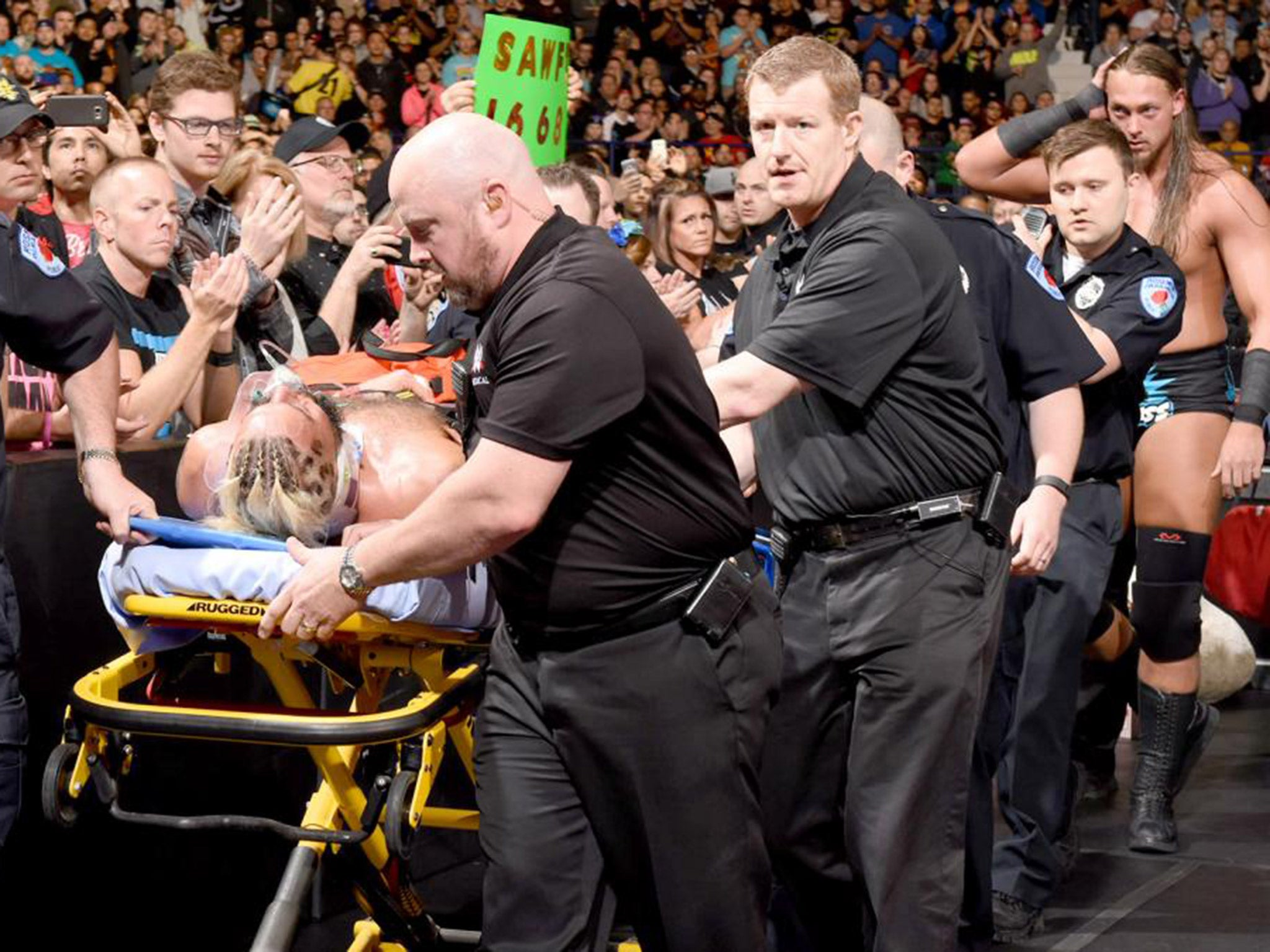 Enzo amore suffers match ending injury at wwe payback