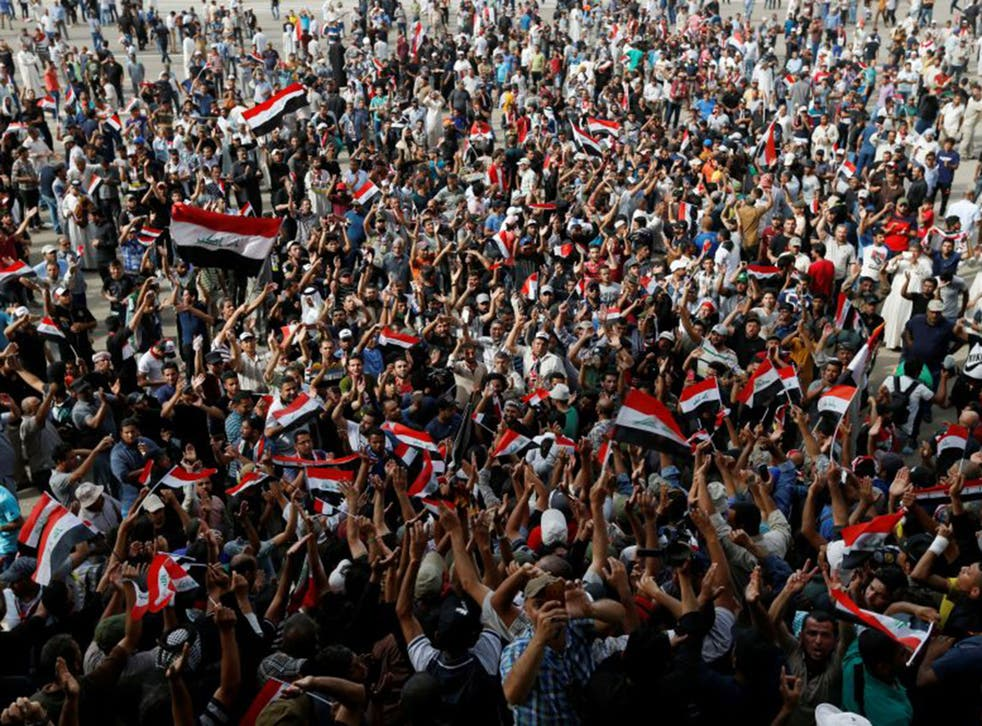 Followers of Iraqi Shi'ite cleric Moqtada al-Sadr stage a takeover of the Grand Festivities Square inside the Green Zone