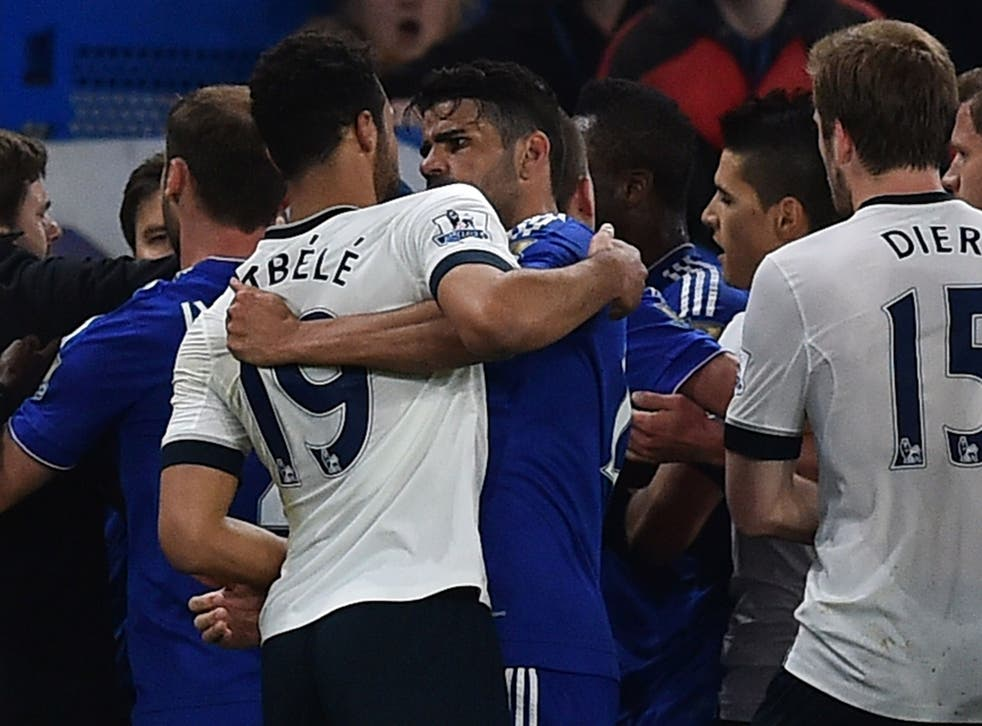 Mousa Dembele appeared to eye-gouge Diego Costa during Tottenham's 2-2 draw with Chelsea