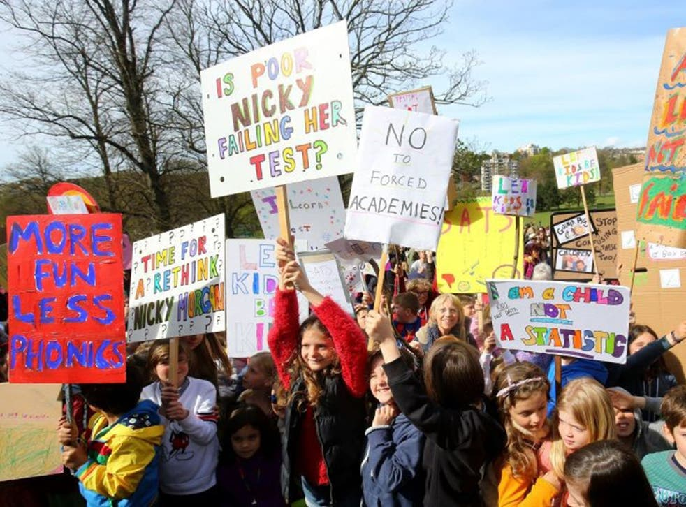Children out on strike over too many exams in England