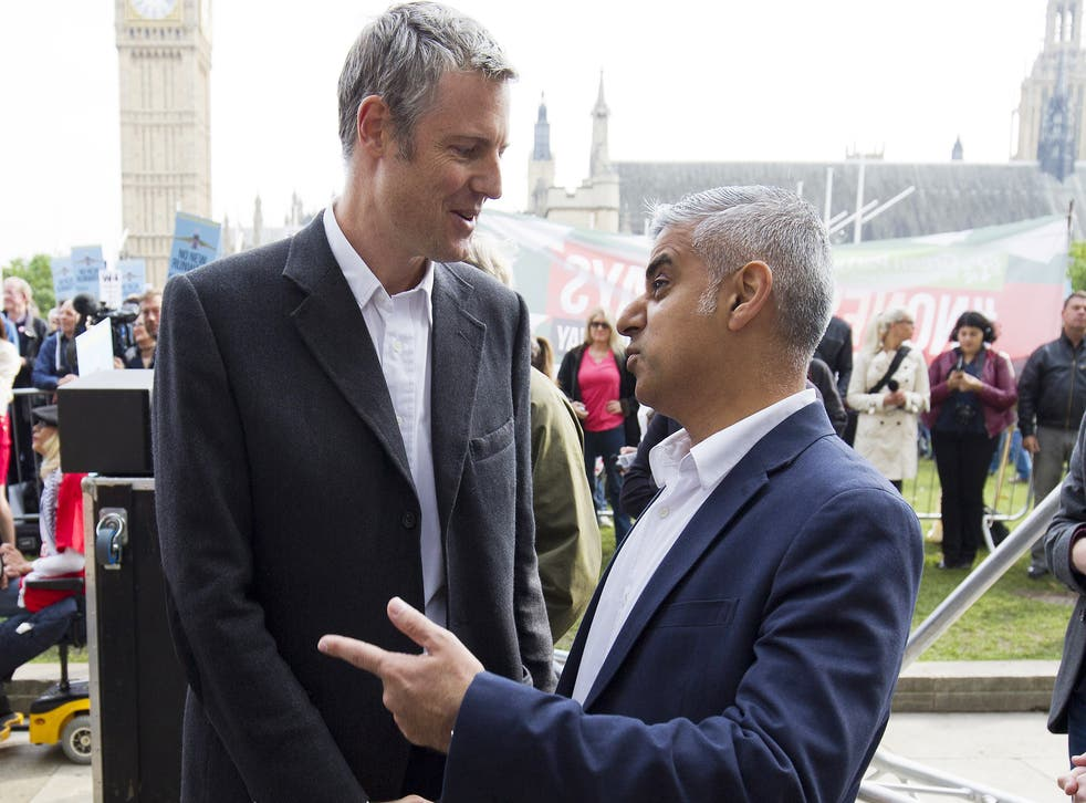 Zac Goldsmith and Sadiq Khan attend a rally against a third runway at Heathrow airport, in Parliament Square on October 10, 2015 in London