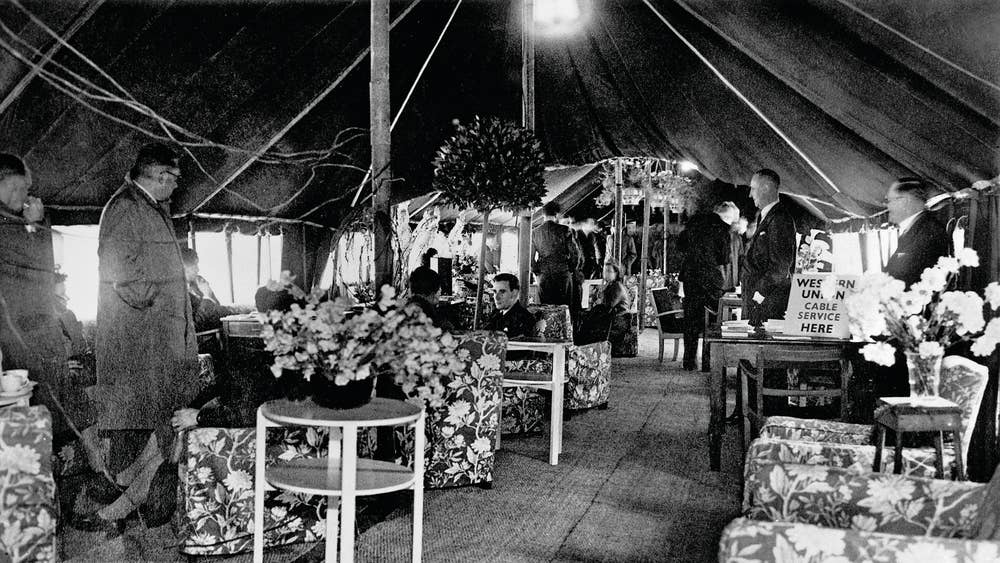 Inside one of the terminal tents in 1946