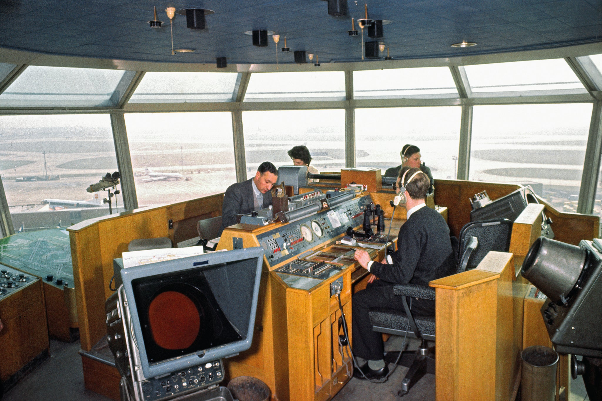 Air traffic control tower in the 1960s