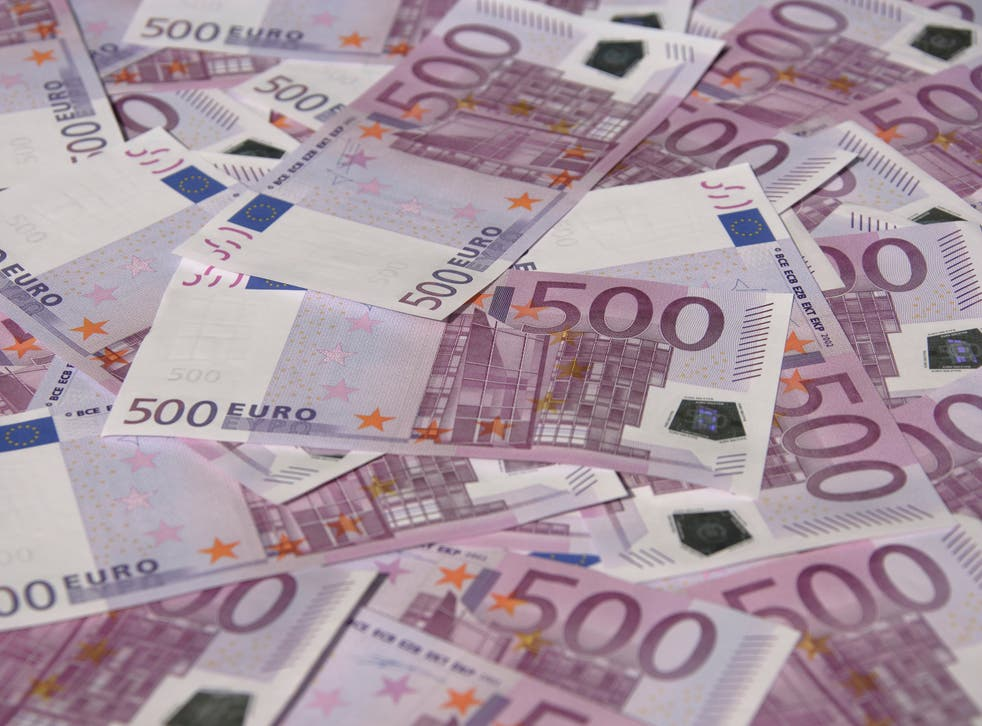 The large, violet bills are the most valuable Euro notes and the biggest physically