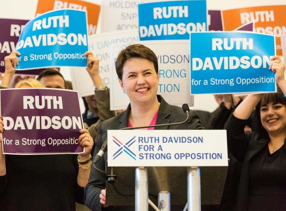 Ruth Davidson speaking at the Royal Botanic Garden in Edinburgh