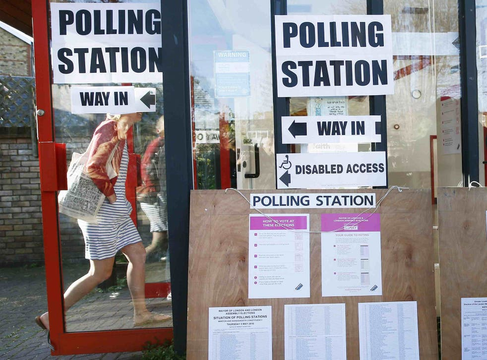 A polling station in south London Britain May 5, 2016.