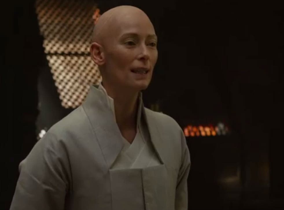 Tilda Swinton as Tibetan mentor The Ancient One in Marvel movie Doctor Strange