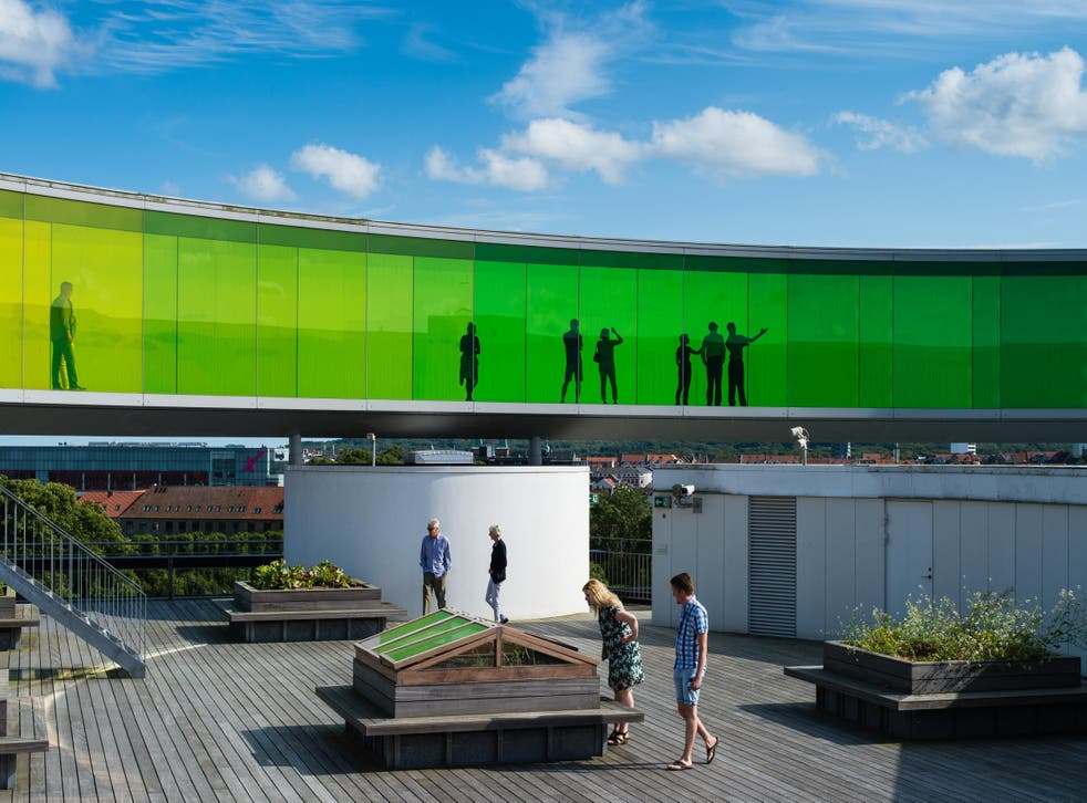 Olafur Eliasson's coloured rooftop walkway at ARoS