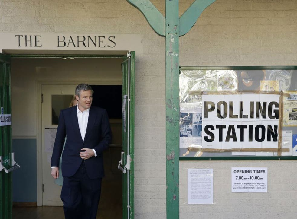 Conservative candidate Zac Goldsmith cast his vote at a polling station in Barnes, south west London