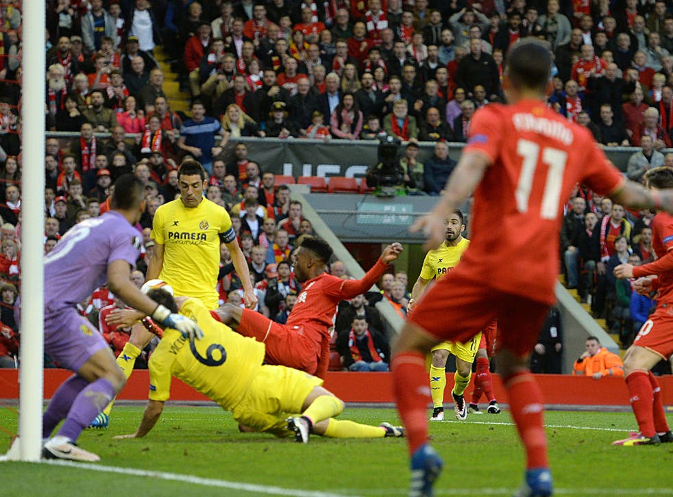 The cross goes in off Bruno to give Liverpool the lead on the night