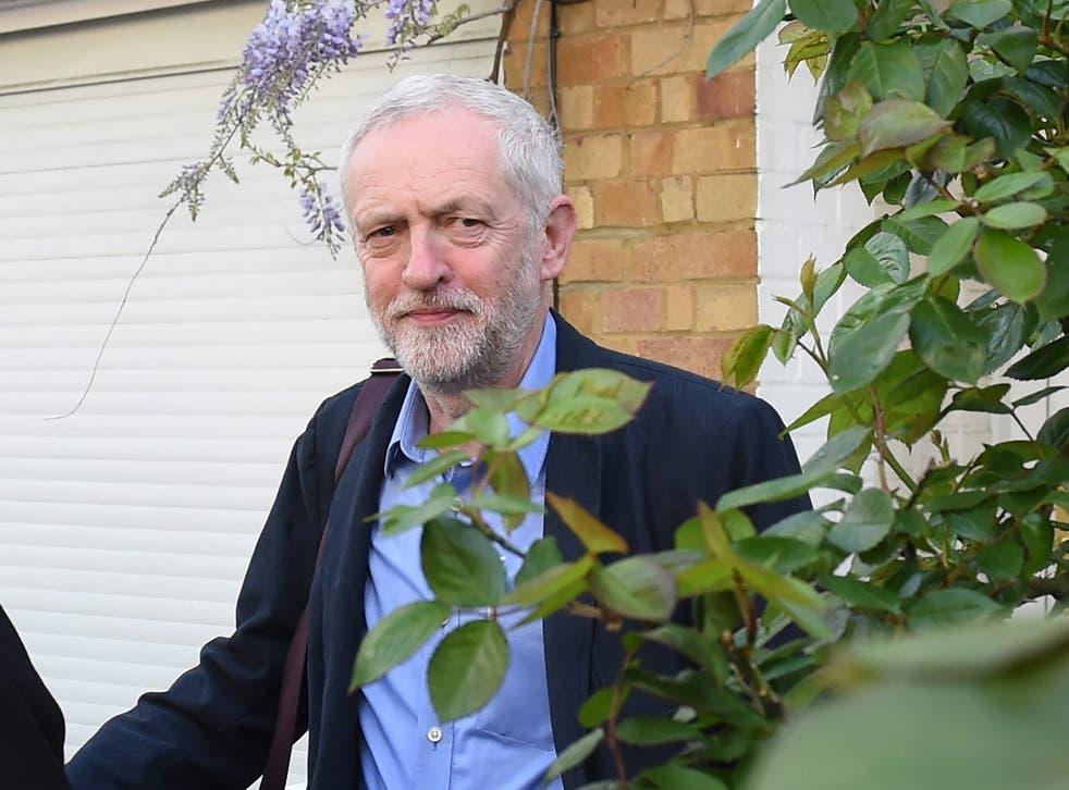 Jeremy  Corbyn leaves his house in London
