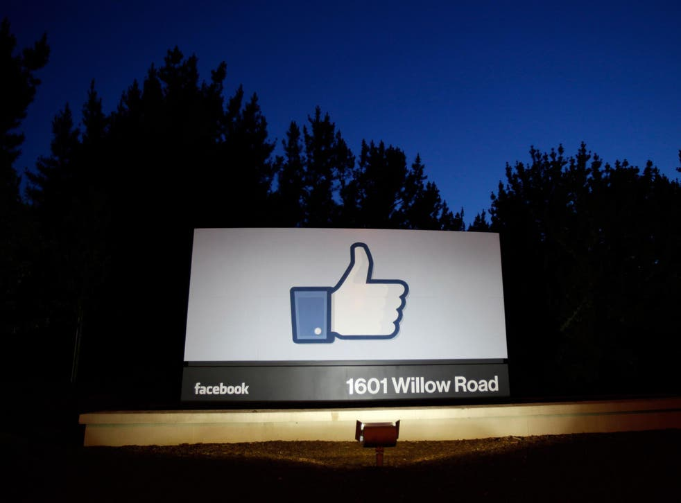 A 'Like' sign stands at the entrance to Facebook HQ in Menlo Park, California