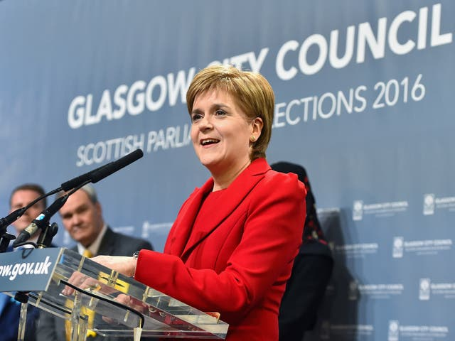 SNP leader Nicola Sturgeon gives a speech after winning her Glasgow Southside seat in Scottish Parliement Elections