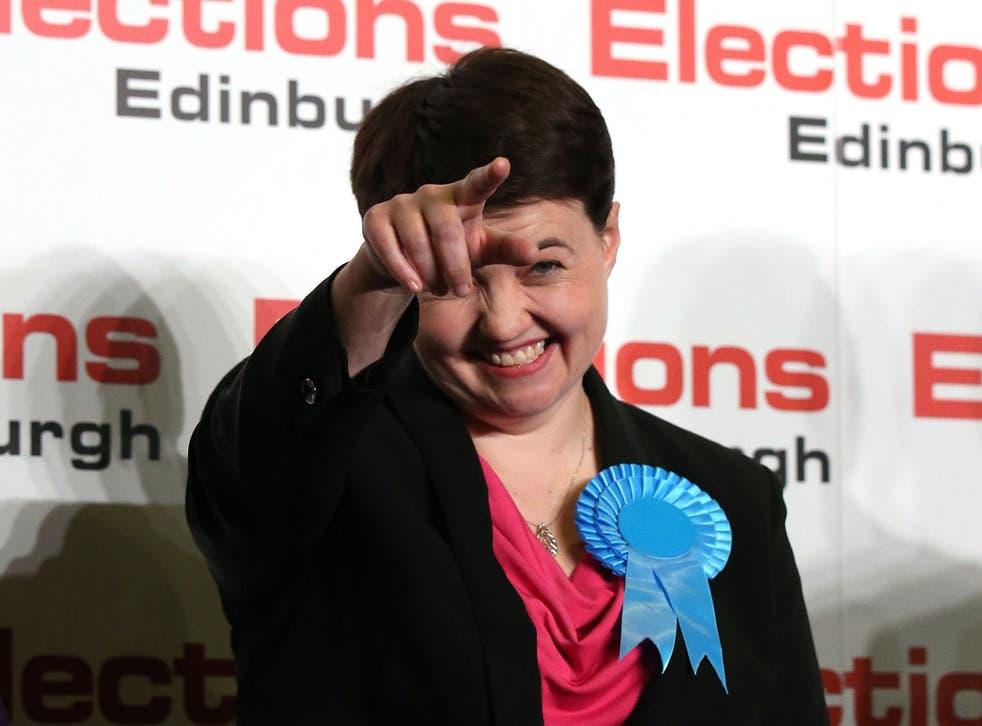 Scottish Conservative leader Ruth Davidson waves after winning the  Edinburgh Central seat