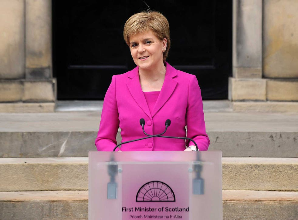 Scotland's First Minister and SNP leader Nicola Sturgeon addresses the media outside Bute House, the official residence of the Scottish First Minister, in Edinburgh. Scottish nationalists won a third term in power but lost their outright majority in one of a series of local and regional elections seen as a key test for Labour leader Jeremy Corbyn