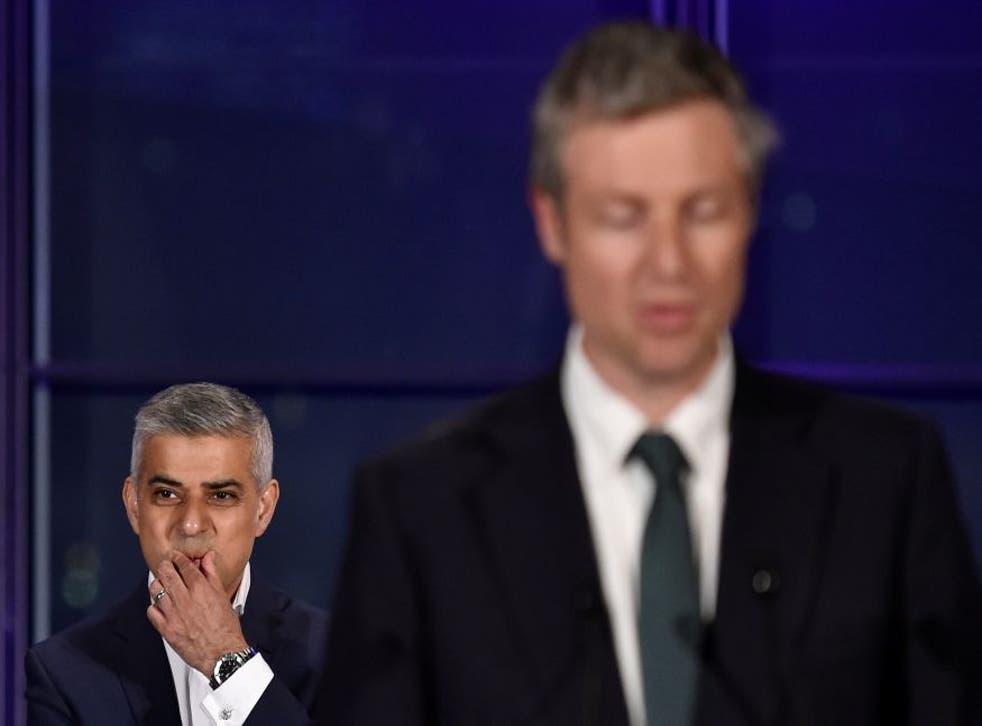Zac Goldsmith speaking last night as Sadiq Khan looks on