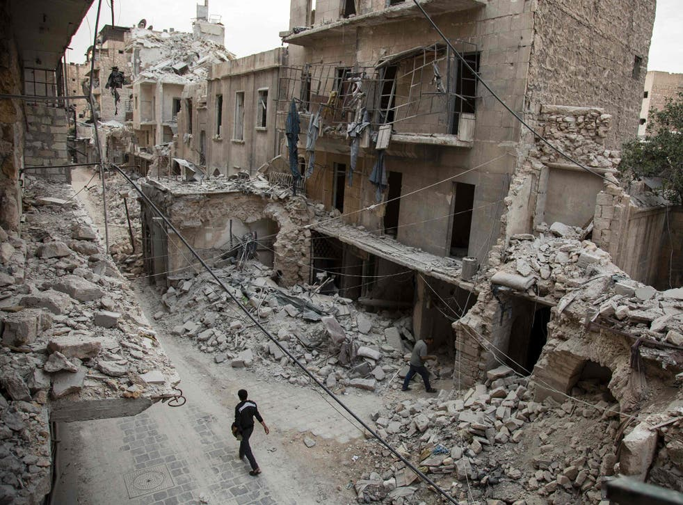 Destroyed buildings in the city of Aleppo where the three were kidnapped