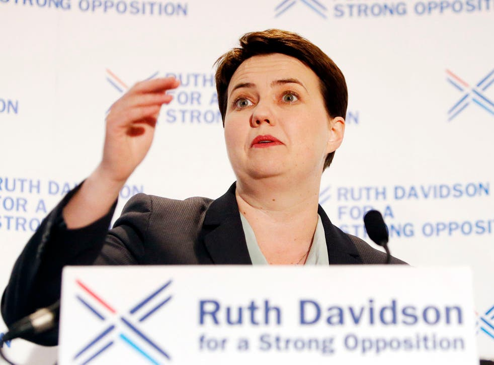 Ruth Davidson  speaking at the Apex Hotel in Edinburgh, after leading the party to their best ever performance at Holyrood