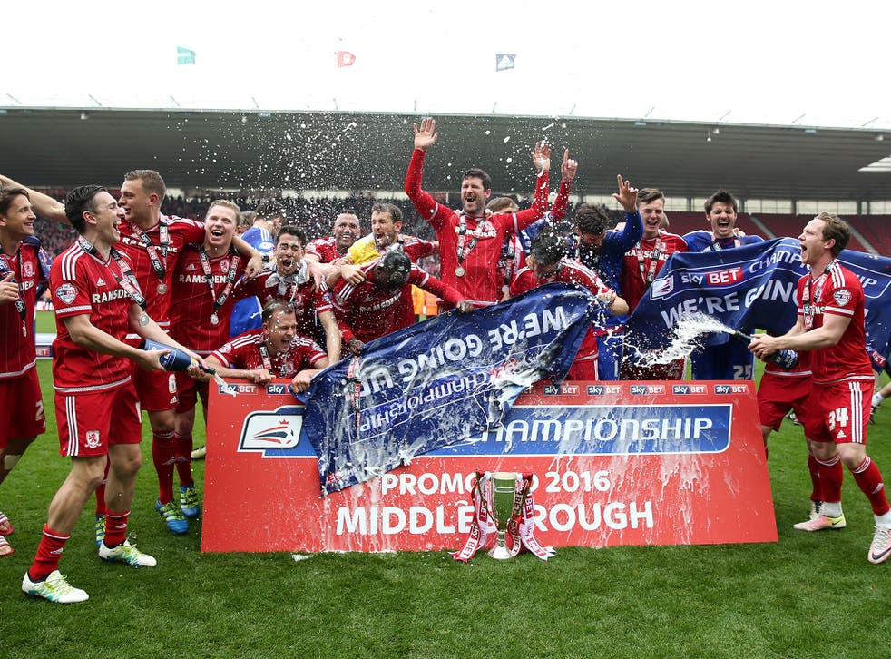 Middlesbrough celebrate their promotion to the Premier League