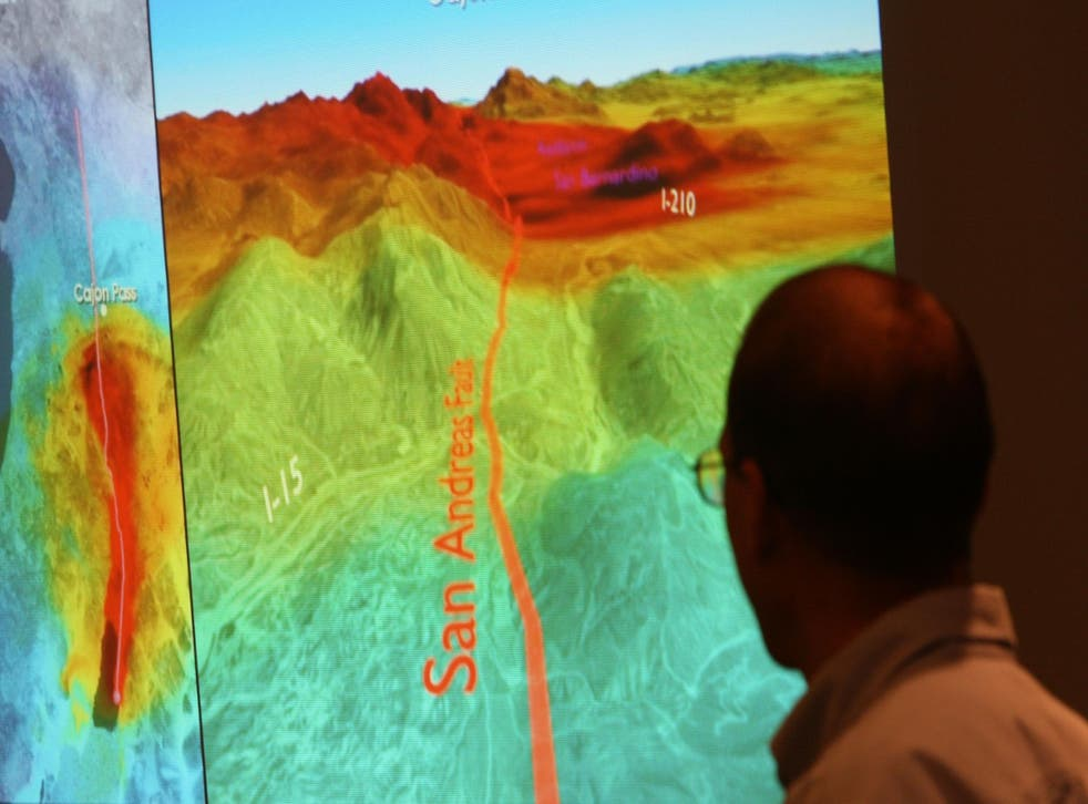 A computer model illustrates how shock waves from a 7.8 magnitude earthquake on the San Andreas Fault would affect southern California
