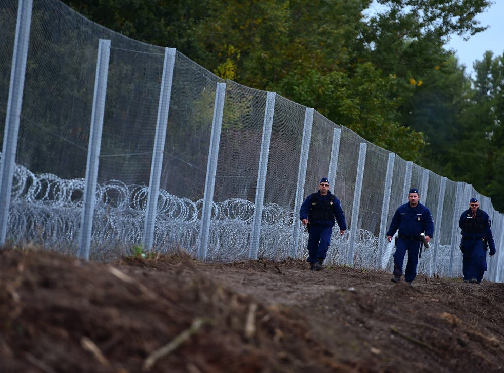 Police officers patrol along a new border fence at the Hungarian border