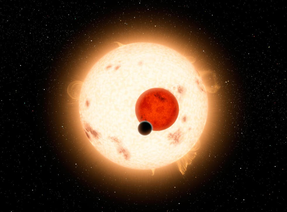 A digital illustration of Kepler-16b, a gaseous planet discovered by the Kepler telescope in 2011