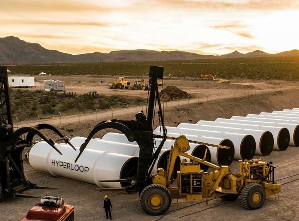 Hyperloop One tubes sit in the desert, awaiting assembly