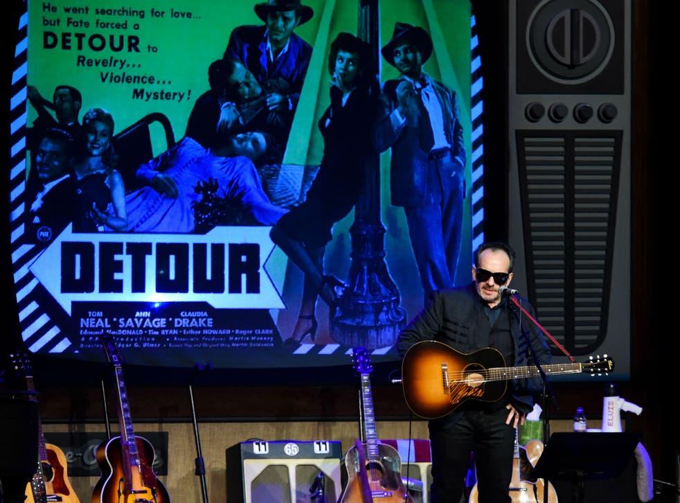 Elvis Costello in concert at the Palladium, London