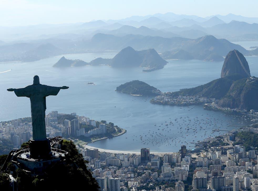 Aerial view of Christ the Redeemer, over Rio de Janeiro