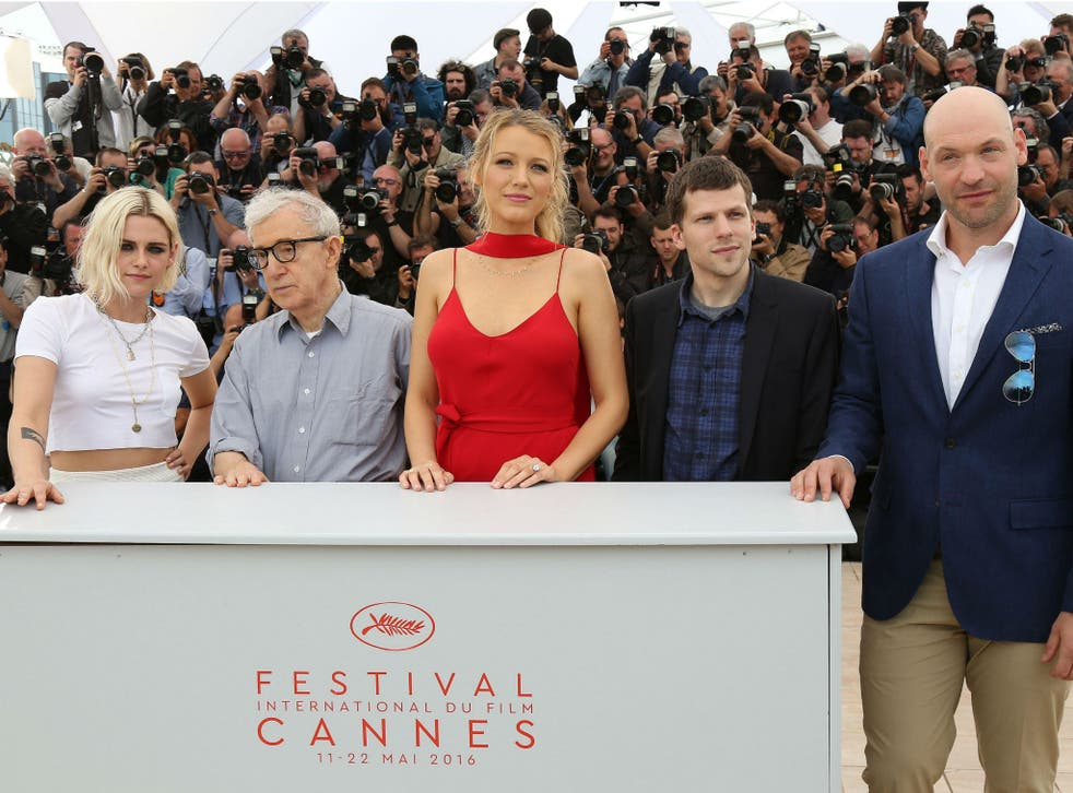 Kristen Stewart, Woody Allen, Blake Lively, Jesse Eisenberg and Corey Stoll promoting Cafe Society at the Cannes film festival