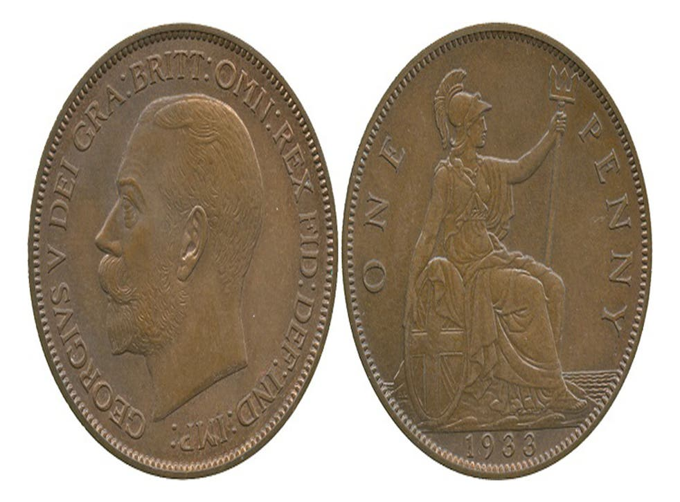 The rare coin is decorated on one side with the likeness of King George V and on the other with the female spirit Britannia
