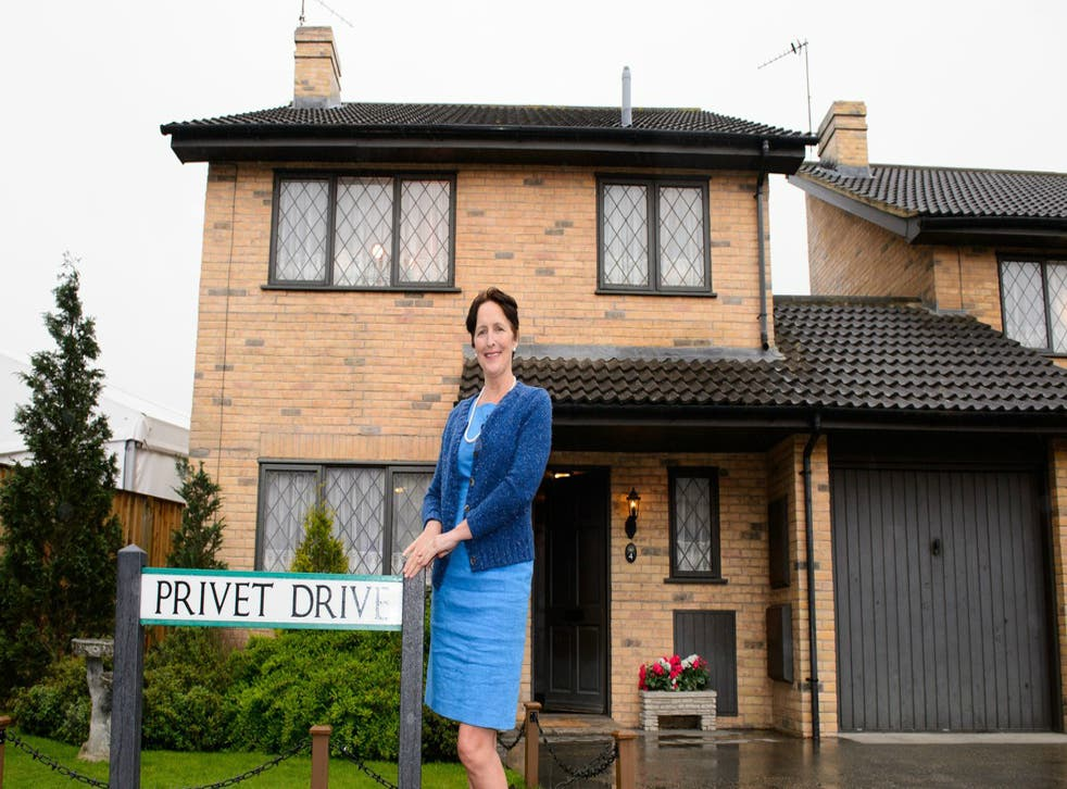 Fiona Shaw, who plays Aunt Petunia in the Harry Potter films, stands outside of Number Four Privet Drive